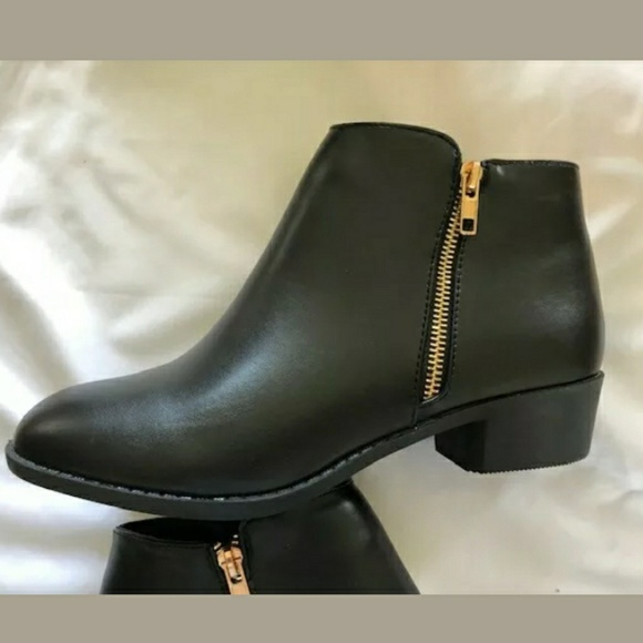 Shoes - Black Zip Closure Ankle Boots